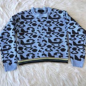 Endless Rose M/L Blue Cheetah Chunky Knit Sweater